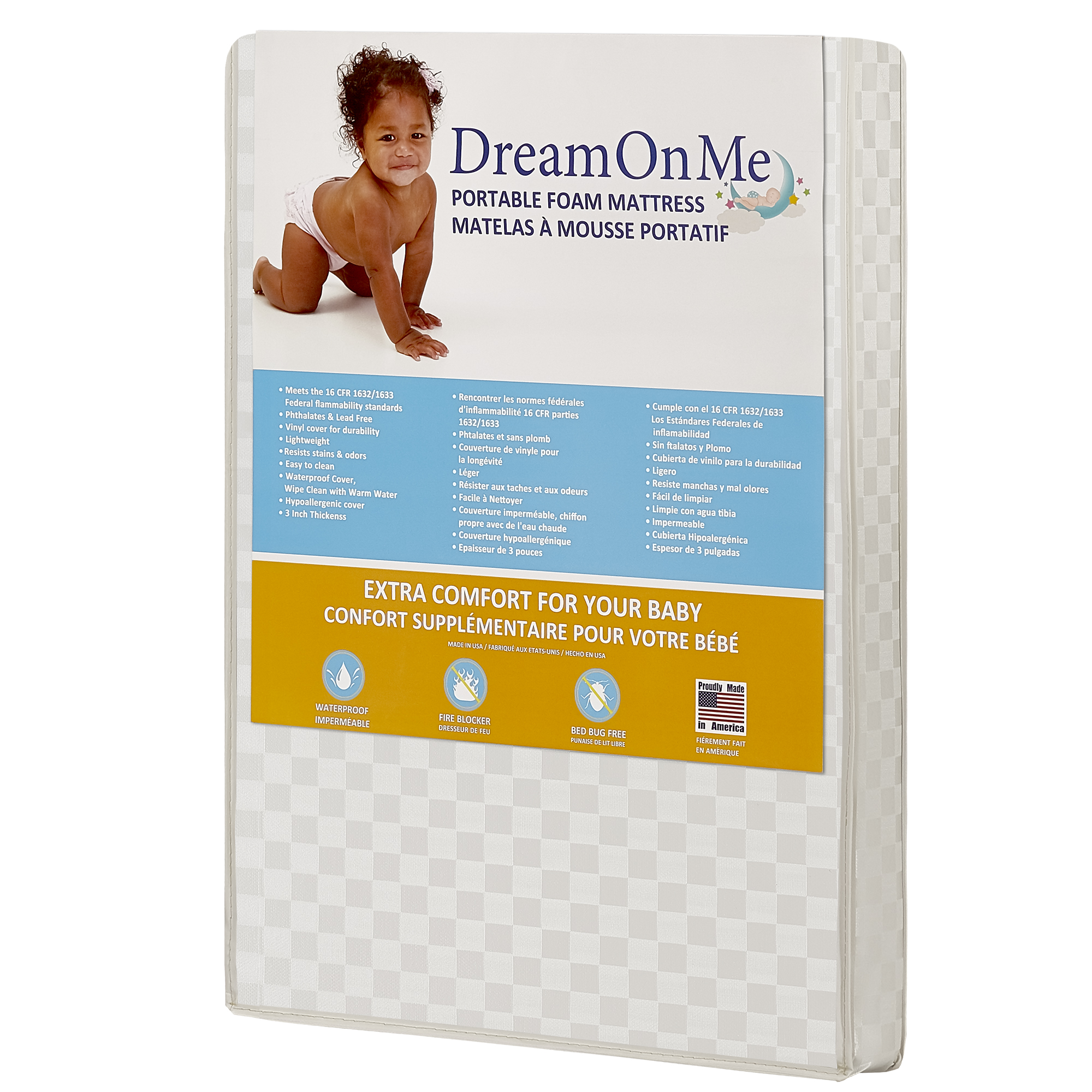 "Dream On Me Travel Lite Protable Min Play Yard 3""Foam Mattress"