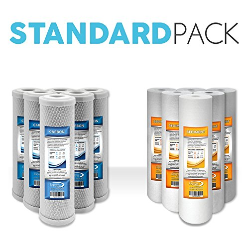 """Express Water Reverse Osmosis RO Replacement Filters Set Universal Standard 10"""" Sediment Carbon Coconut Shell"""