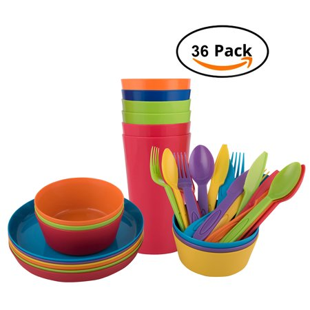 Melange 36-Piece Reusable Plastic Dinnerware Set for Kids and Toddler | BPA-Free Utensils for Children | 6 Dinner Plates, 6 Bowls, 6 Tumblers, and 18-pc Flatware | Microwave/ Dishwasher Safe (Dog Childrens Dinnerware)