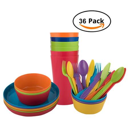 Melange 36-Piece Reusable Plastic Dinnerware Set for Kids and Toddler | BPA-Free Utensils for Children | 6 Dinner Plates, 6 Bowls, 6 Tumblers, and 18-pc Flatware | Microwave/ Dishwasher Safe ()