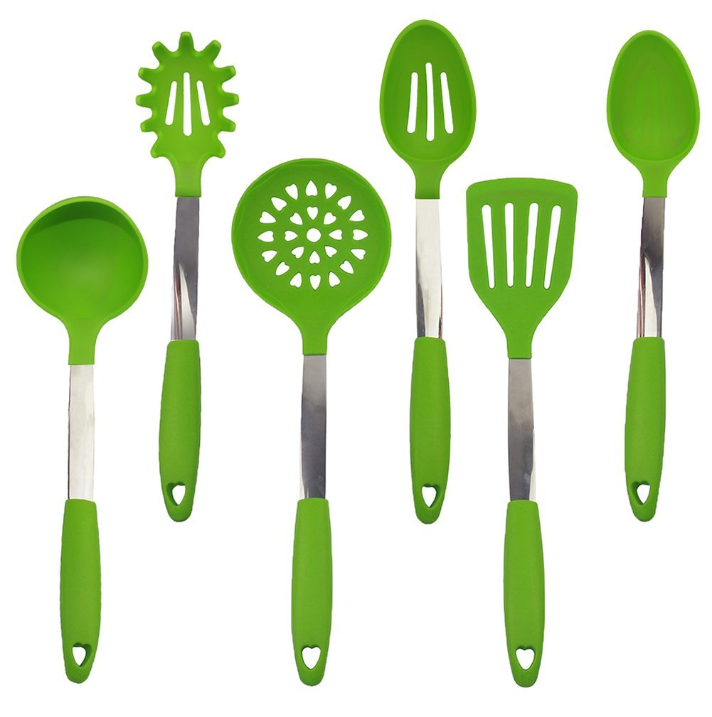 Kuke Silicone Stainless Steel 6 Pieces Cooking Utensil Set Green Silicone Cooking Tools green