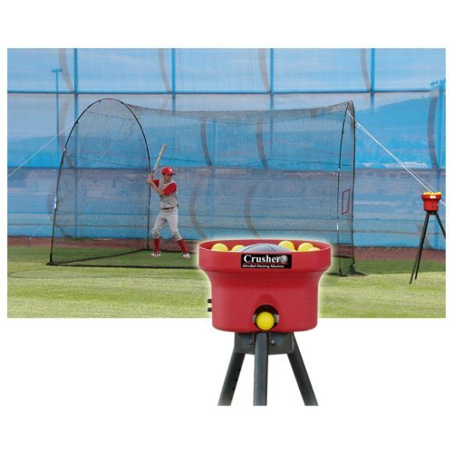 Heater Sports 12 ft. Crusher Pitching Machine & HomeRun Batting Cage Package