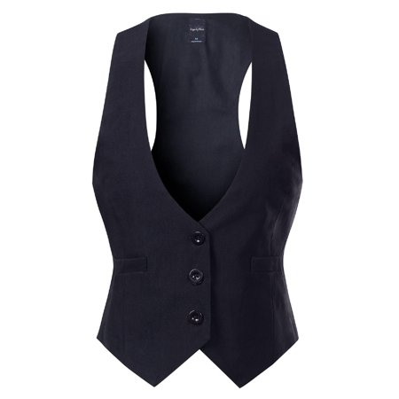 Made by Olivia Women's Casual Versatile Three Button Racerback Tuxedo Suit Waistcoat Vest Black L Cutter & Buck Microfiber Vest