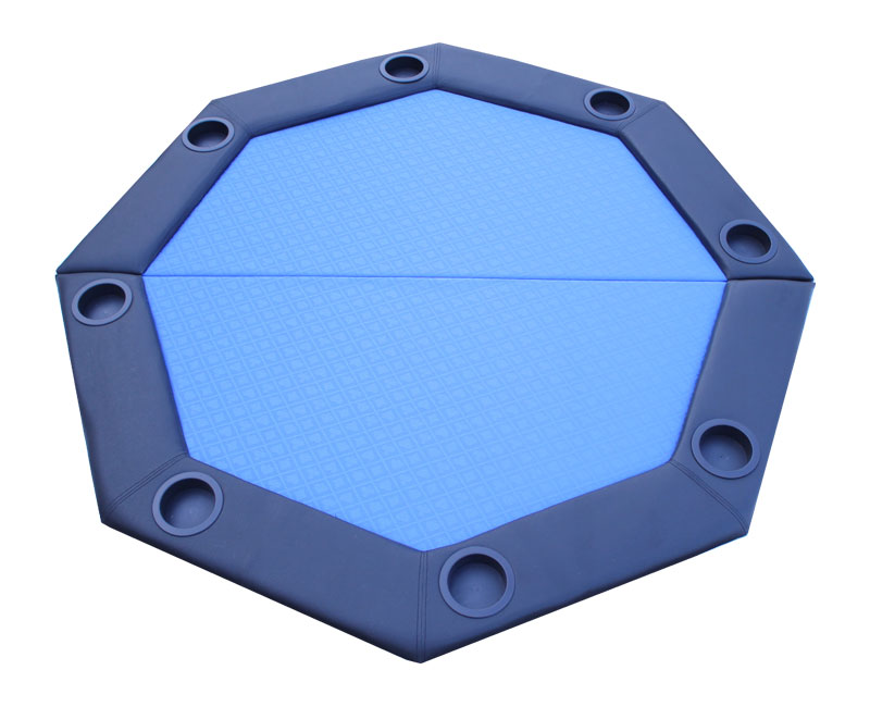 Padded Octagon Folding Poker Table Top w  Cup Holders Blue Suited Speed Felt by