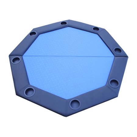 - Padded Octagon Folding Poker Table Top w/ Cup Holders - Blue Suited Speed Felt