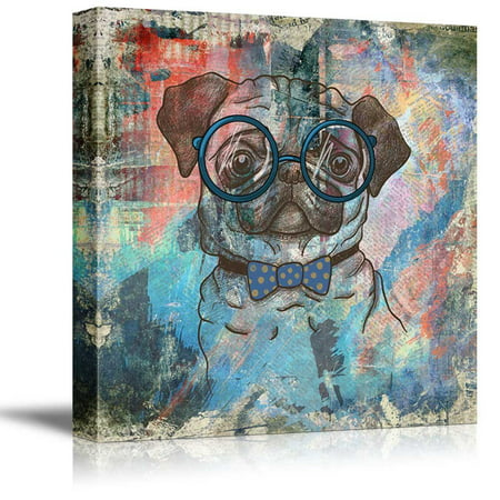 wall26 Square Dog Series Canvas Wall Art - Vintage Style Colorful Painting of a Pug with Glasses - Giclee Print Gallery Wrap Modern Home Decor Ready to Hang - 16x16 inches