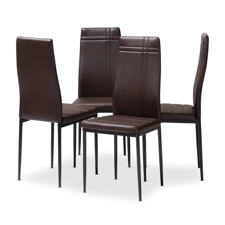Set of 4 Baxton Studio Matiese Modern and Contemporary Brown Faux Leather Upholstered Dining Chairs 4 Brown Leather Chairs