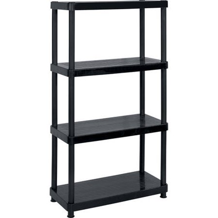 Keter Plastic 4-Tier Shelf, 16″ x 34″ Resin Shelving Unit, Black