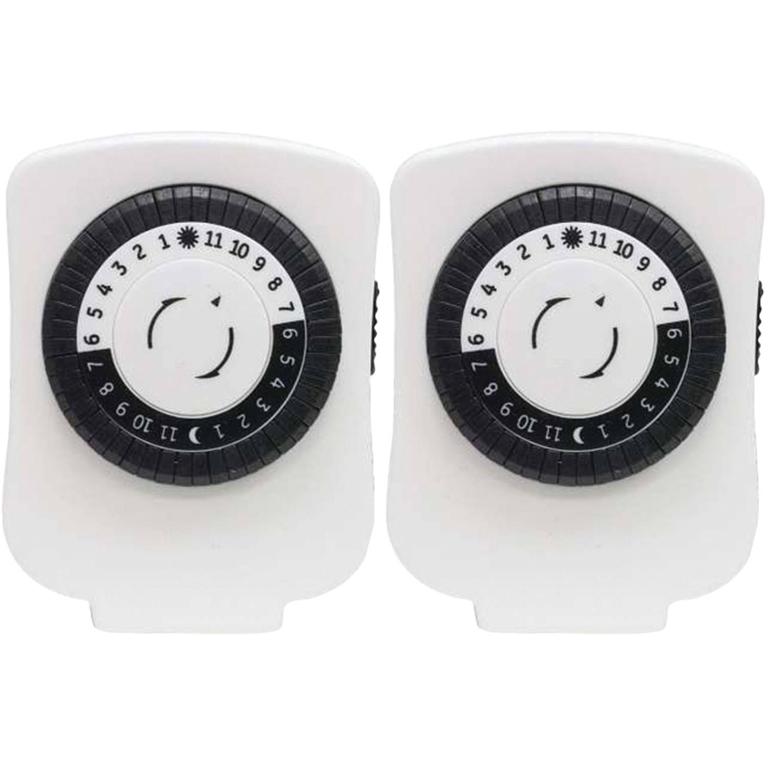 GE 15417 24-Hour Polarized Plug-In Mechanical Timer with 48 On/Off and 1 Outlet, White, 2pk