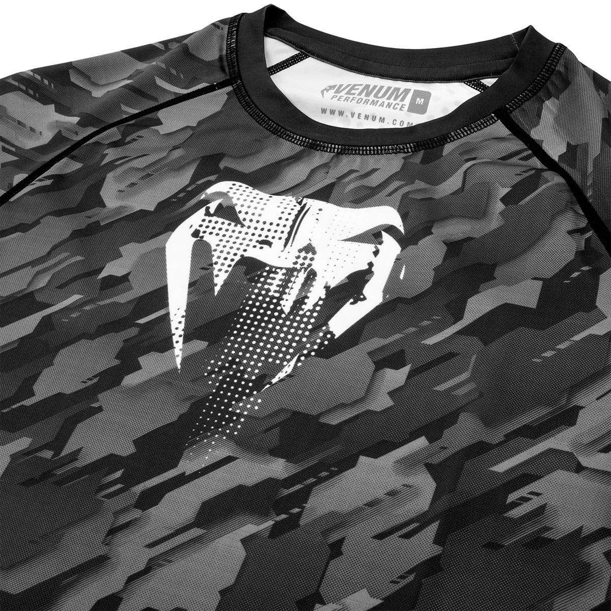 Venum Men/'s Tecmo Short Sleeve Rash Guard MMA BJJ Dark Grey