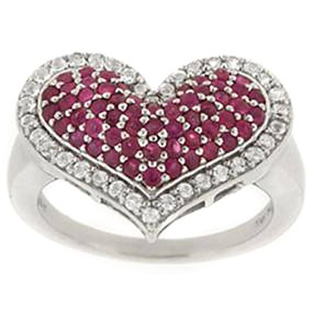 2.9 Carat T.G.W. Ruby and White Topaz Sterling Silver Heart Ring (Genuine Ruby Heart)