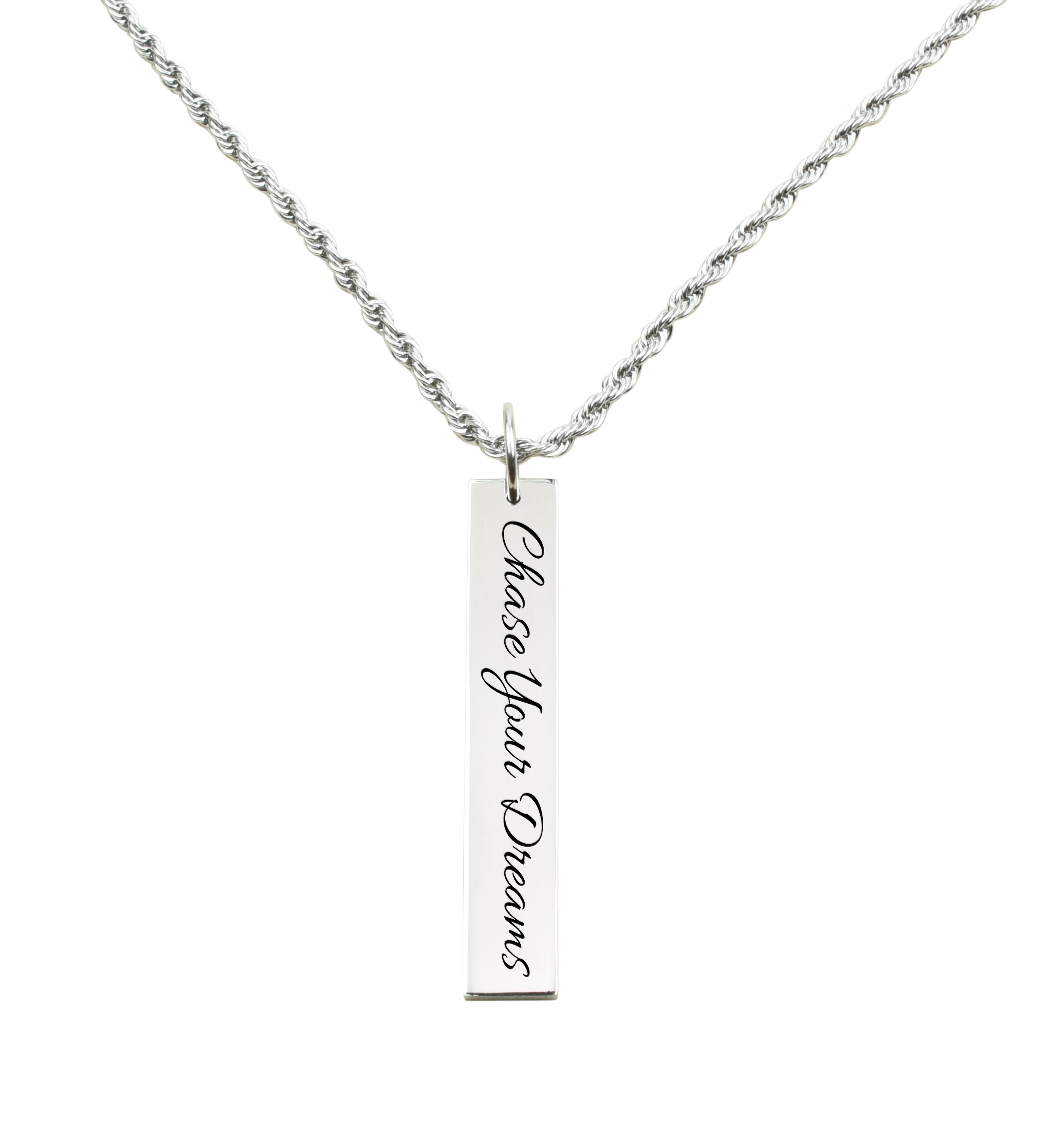 Thankful Silver Pink Box Vertical Bar Inspirational Necklace
