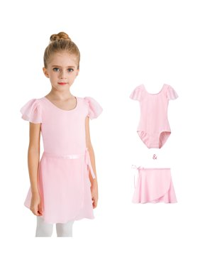 Stelle Now Ruffle Sleeve Ballet Leotard with Separated Skirt, Ballet Pink, 85 (2-3Y)