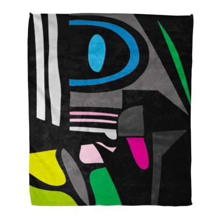 SIDONKU Flannel Throw Blanket Green Black of Abstract Painting Blue Drawing White Pattern Ink 50x60 Inch Lightweight Cozy Plush Fluffy Warm Fuzzy Soft