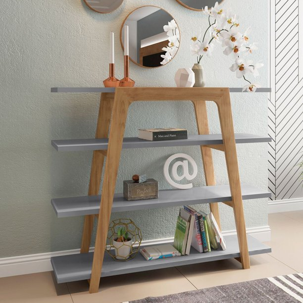 Manhattan Comfort Gowanus Geometric 47 24 Modern Ladder Bookcase With 4 Shelves In Grey Walmart Com Walmart Com