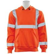 W376 ANSI Class 3 Polyester Fleece Hooded Sweatshirt in Hi-Viz Orange, 2X