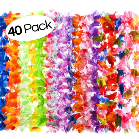 40 Count Hawaiian Flower Lei for Luau Party - Bulk Set of Floral Necklace Leis Vibrant Colors Assortment for Party Favors, Garland Decorations or Ornaments for Any Occasion - Hawaiian Decorations Cheap