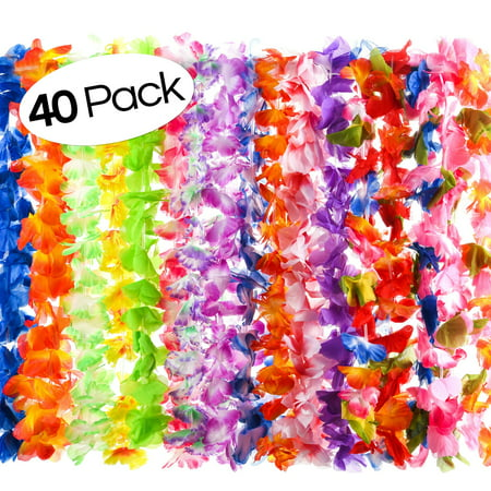 40 Count Hawaiian Flower Lei for Luau Party - Bulk Set of Floral Necklace Leis Vibrant Colors Assortment for Party Favors, Garland Decorations or Ornaments for Any - Hawaiian Lei Company