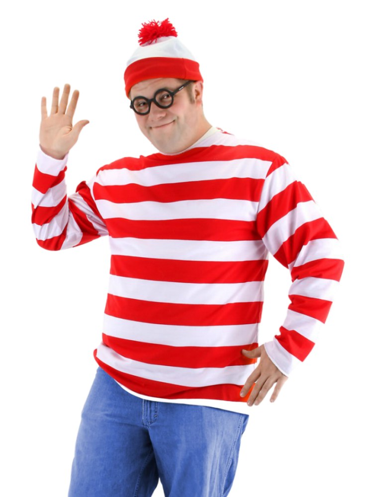Mens Wheres Waldo Costume with Red & White Striped Shirt Hat ...