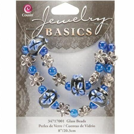 Jewelry Basics Glass Bead Strands-Blue Fancy Round