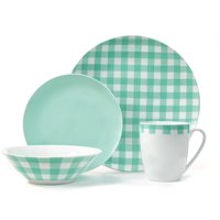 Deals on Plaid Collection 16-Piece Mint Green Porcelain Dinnerware Set