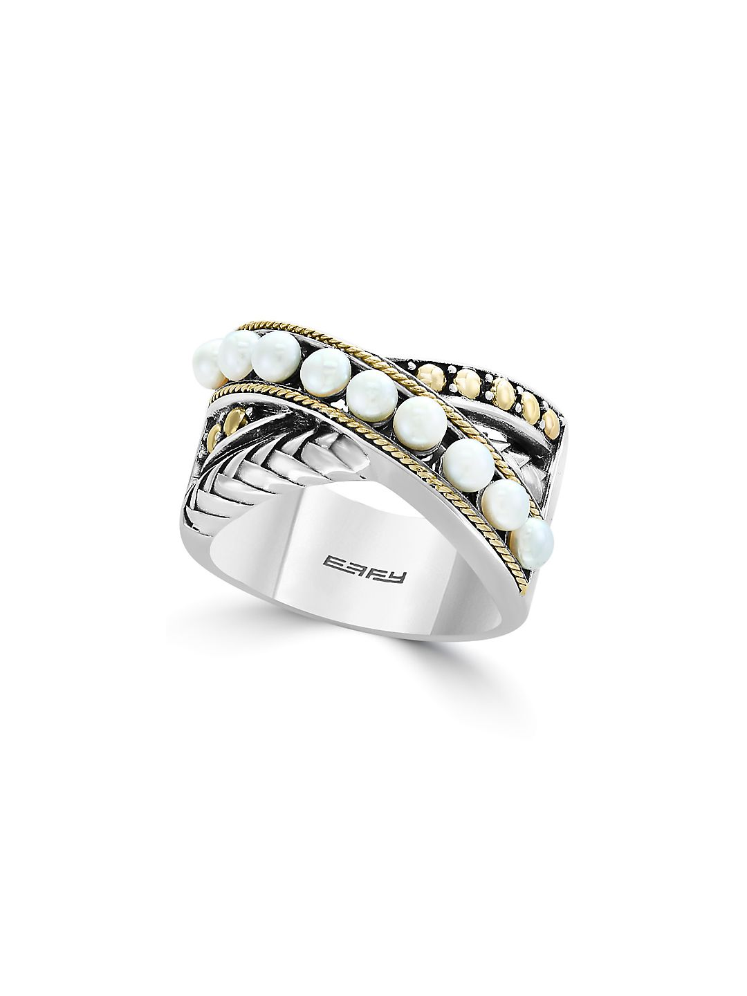 925 Sterling Silver and .53mm Fresh Water Pearls Cross Ring