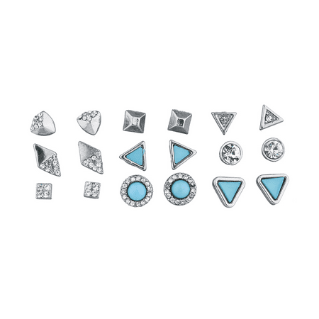Lux Accessories Silver Tone and Turq Stone Geo Pave Multi Earring Set -