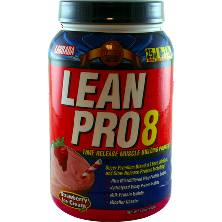 Labrada Lean Pro 8 Protein Powder, Strawberry Ice Cream, 2.9 Lb