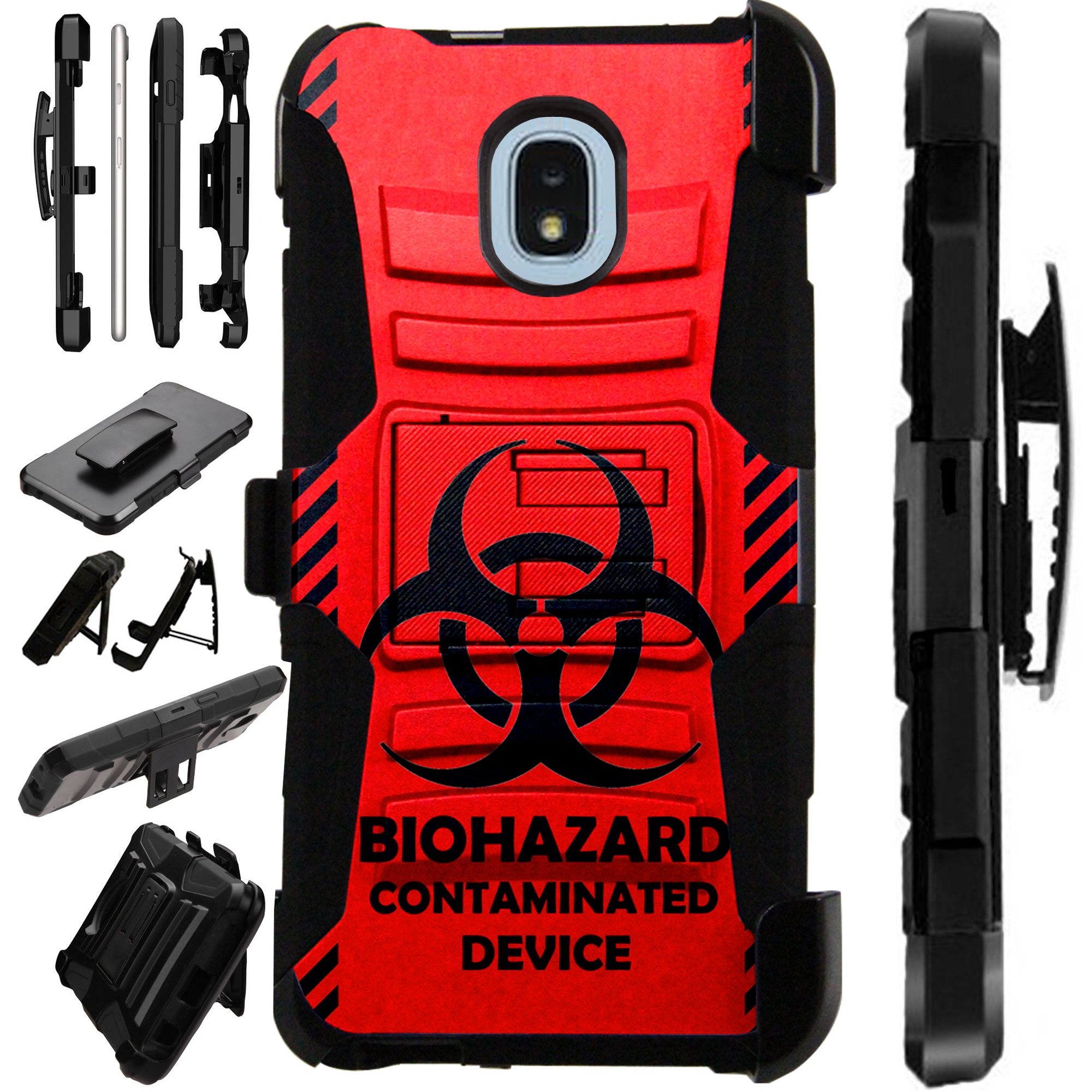 LuxGuard Phone Case Cover For Samsung Galaxy J3V (2018) | J3 Orbit | J3 Achieve | Express Prime 3 (Red Biohazard)