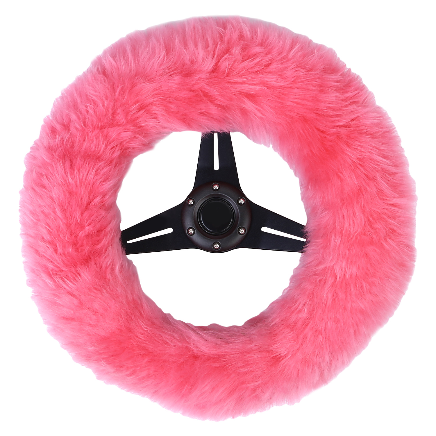 1Pcs Plush Stretch - On Vehicle Steering Wheel Cover Classic Black Car Wheel Protector