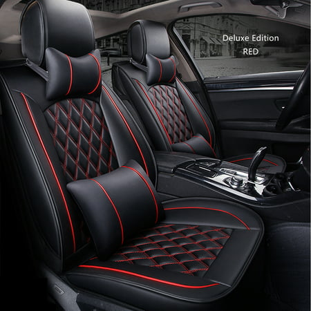 5 Seat PU Leather Full Set Car Seat Cover Cushion Pad 3D Surround Breathable Red (Dodge Charger Red Leather Seats For Sale)