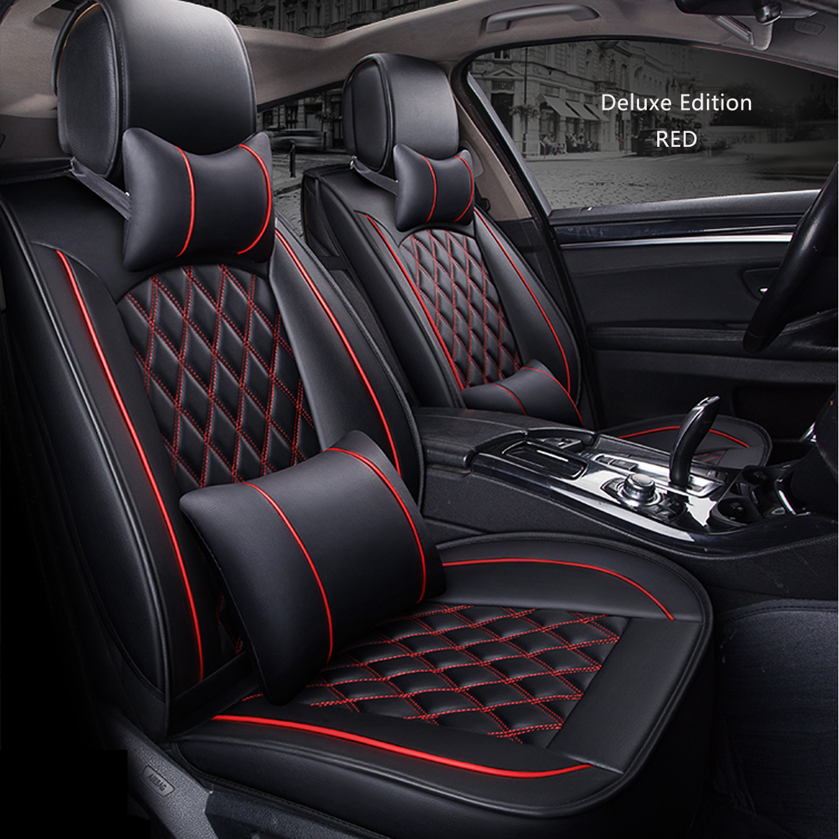 Red Front//Rear Car Seat Cover Breathable PU Leather Pad Cushion Universal