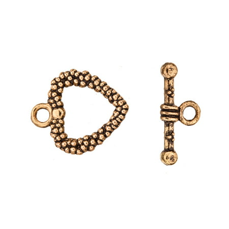 Heart Shape Wreath Toggle Clasp Antique-Gold Finished 16/19.5mmx19/8.2mm Sold per pkg of 5pair ()