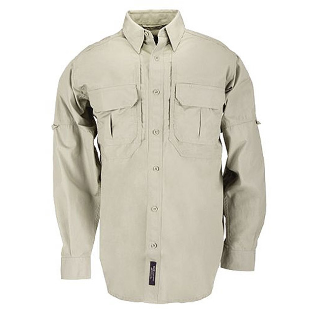 5.11 Tactical Cotton Tactical Long Sleeve Shirt, Khaki