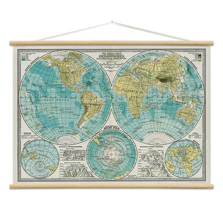 World Hemispheres Map Poster Hanger Kit Atlas Vintage Style X - Us map poster walmart