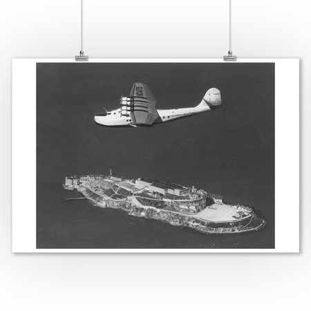 Pan American China Clipper Flying Over Alcatraz Island Photograph (9x12 Art Print, Wall Decor Travel Poster)
