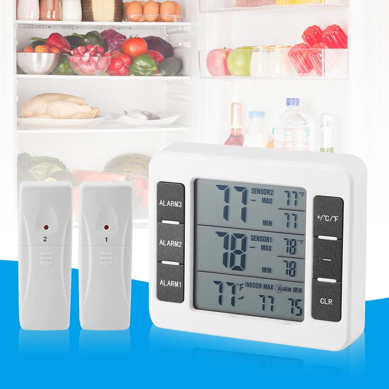 Refrigerator//Freezer Wireless Digital Thermometer Timer Audible Visual Alarm