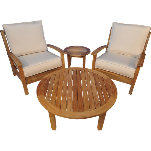 Regal Teak Teak 4 Piece Sunbrella Conversation Set with Cushions