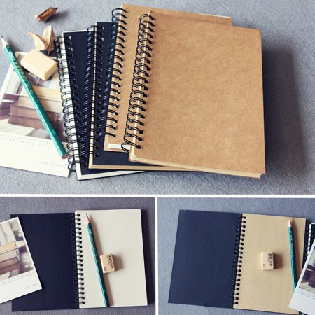 Aimeeli 4 Kinds Retro Spiral Coil Notebook Sketch Book Blank Notebook Kraft Sketching Paper for Graffiti Sketch Drawing