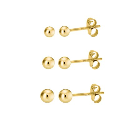 14K Gold Over 925 Silver High Polish Smooth Round Ball Stud Earring 3 Size Set   2Mm  3Mm  4Mm
