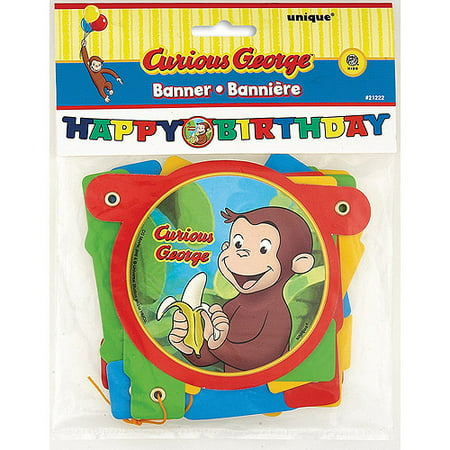 4' Curious George Birthday Banner (Curious George Party Decorations)