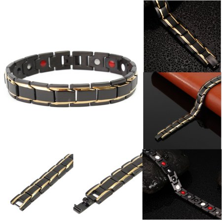 Mens Black Titanium Steel Magnetic Health Therapy Care Energy Bracelet Gift