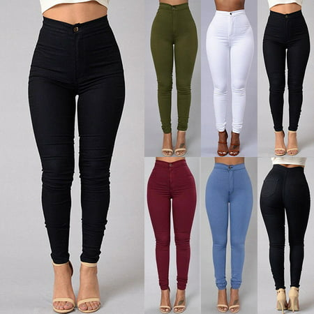 New Fashion Casual Womens Ladies Denim Skinny Pants High Waist Stretch Jeggings Slim Pencil Trousers Black White Blue Red Green