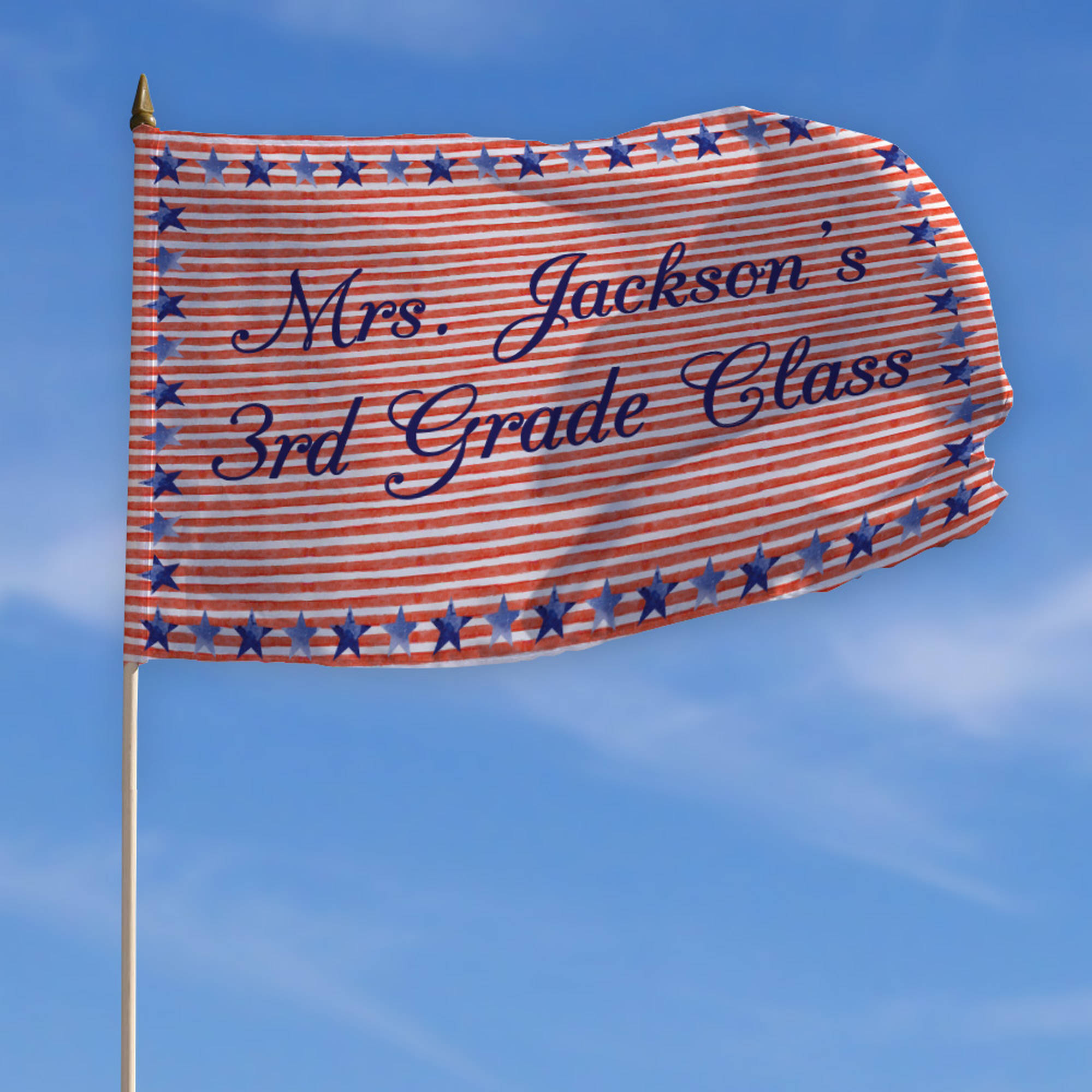"Personalized Patriotic Teacher Classroom Flag with Stick, 18"" x 12"""