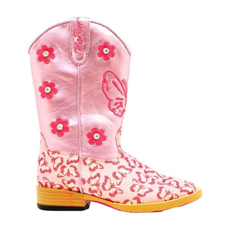 Pink Glitter Boots (Blazin Roxx Western Boots Girls Pecos Kids Glitter Zip Pink)