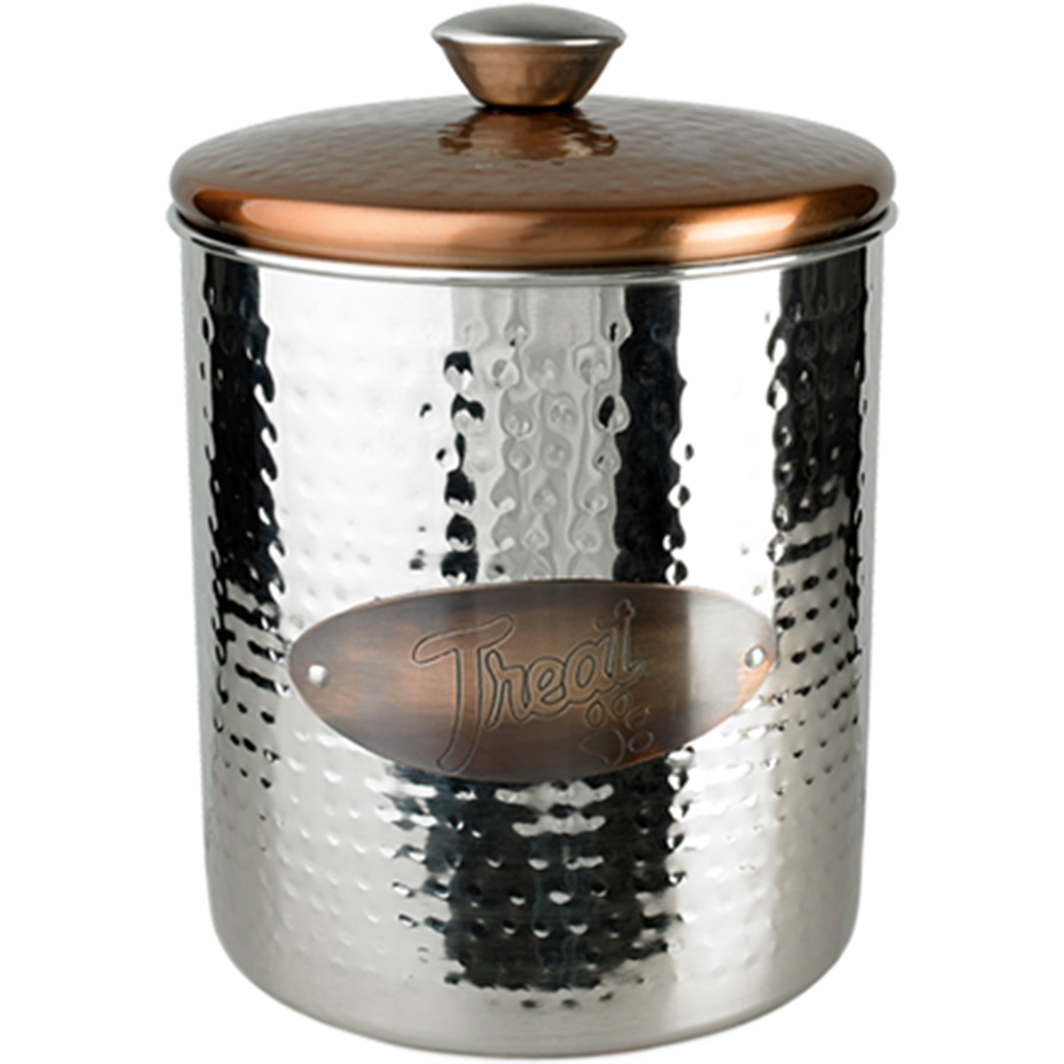 Hammered Stainless Steel & Copper Top Treat Jar 16oz-