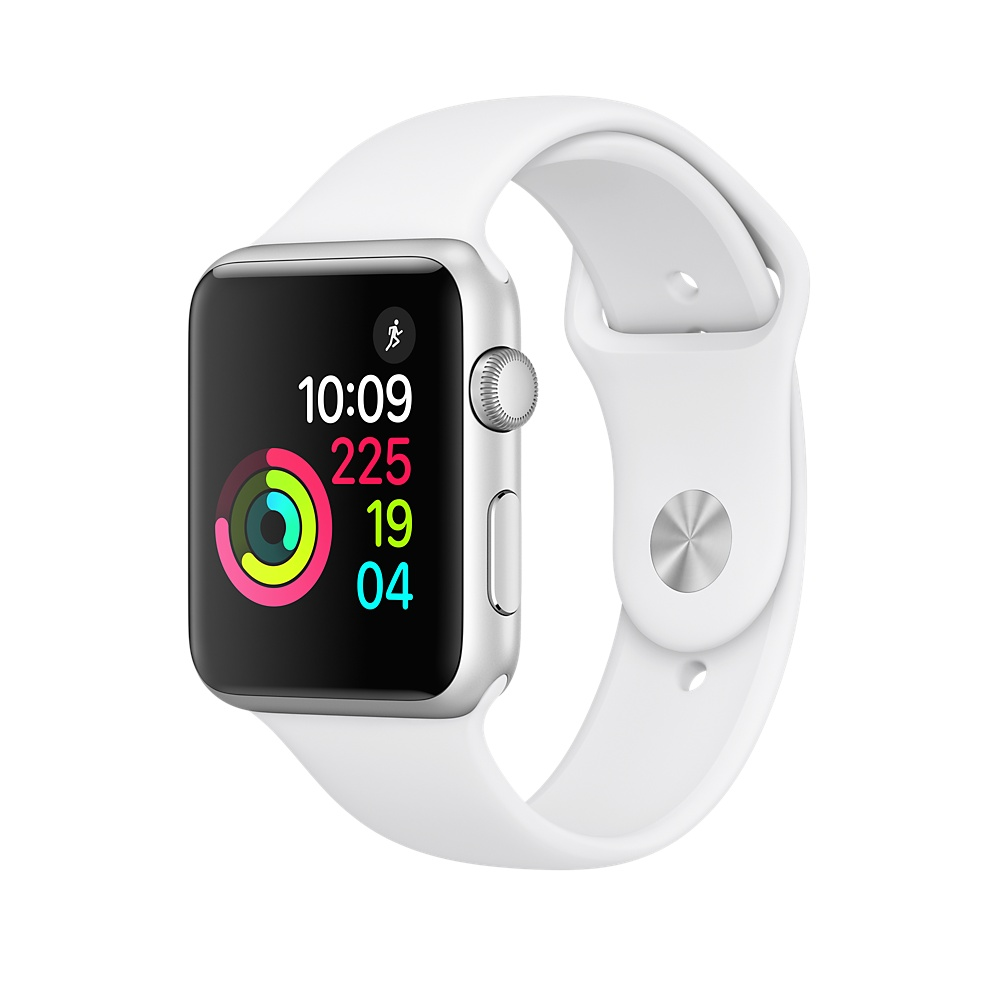 Refurbished Apple Watch Series 1, 38mm Silver Aluminum Case with White Sport Band