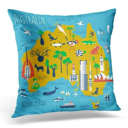 (CMFUN Australia Cartoon Travel Map Landmark Telstra Tower Perth Bell Old Windmill Brisbane Adelaide Town Hall Pillow Case Cushion Cover 16x16 Inches)