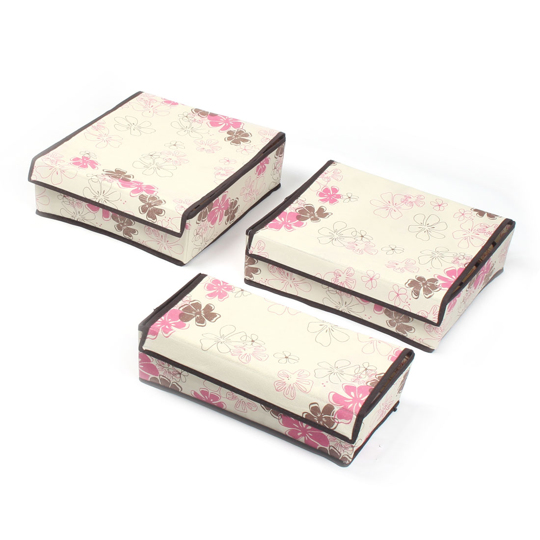 Non-Woven Cloth Flower Pattern Bra Underwear Socks Ties Storage Box Case 3 in 1