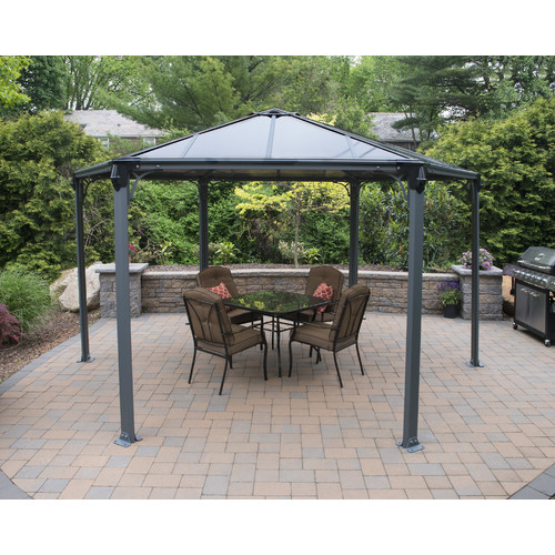 Palram Monaco Hexagon Gazebo, Gray Bronze by Palram